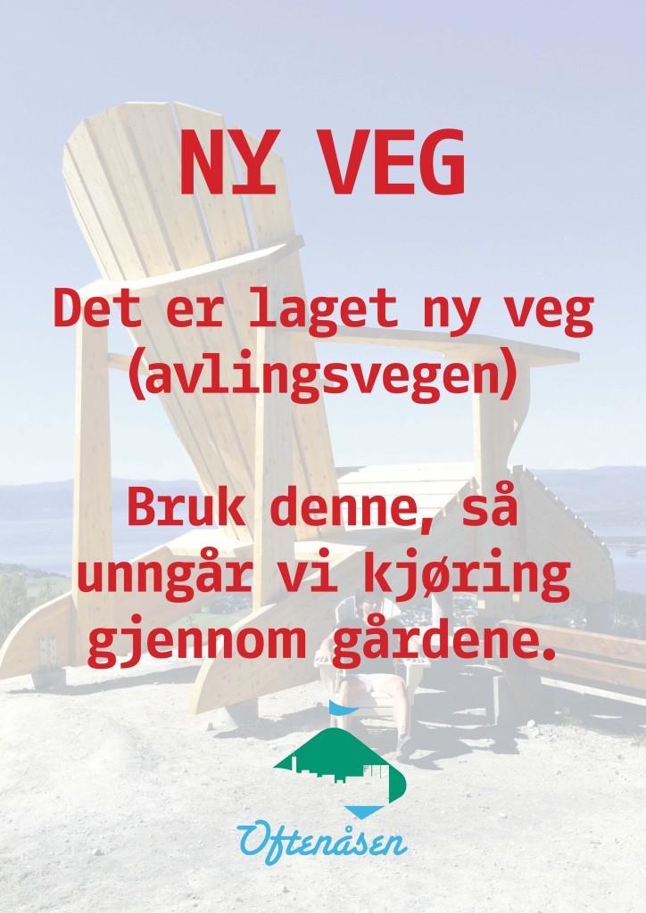 De som kommer Rannemsvegen anmodes om å bruke avlingsvegen. Denne plakaten står ved parkeringsplassen på ann